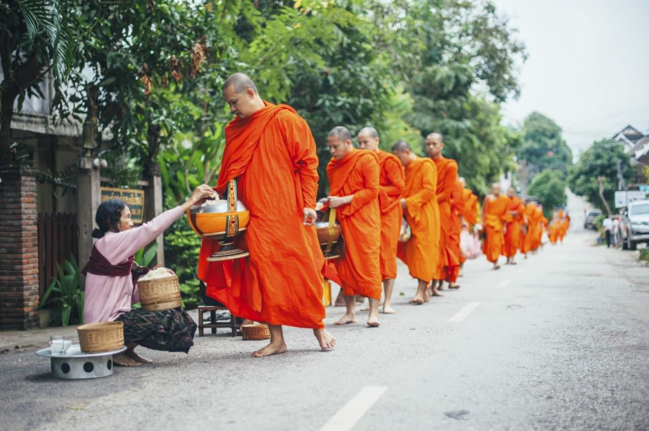Morning Alms for Monks in Laos